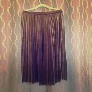 Velvet Midi Pleated Skirt
